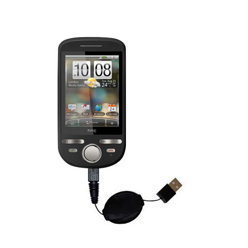 Retractable USB Power Port Ready charger cable designed for the HTC Tattoo and uses TipExchange