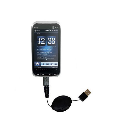 Retractable USB Power Port Ready charger cable designed for the HTC Tilt2 and uses TipExchange
