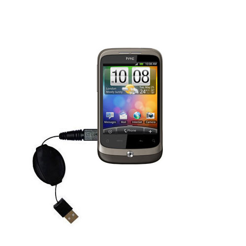 Retractable USB Power Port Ready charger cable designed for the HTC Wildfire and uses TipExchange