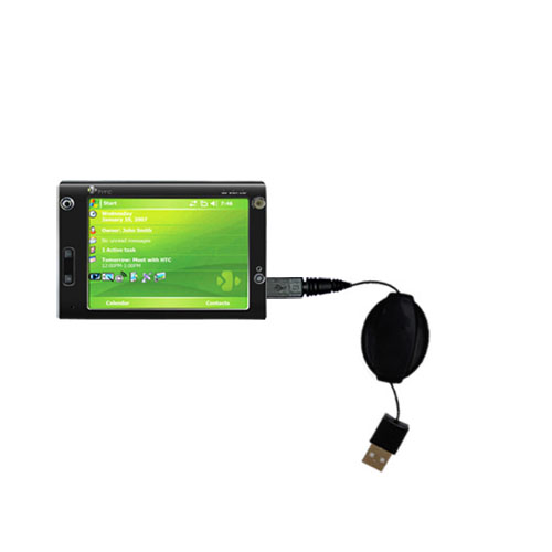 Retractable USB Power Port Ready charger cable designed for the HTC X7500 and uses TipExchange