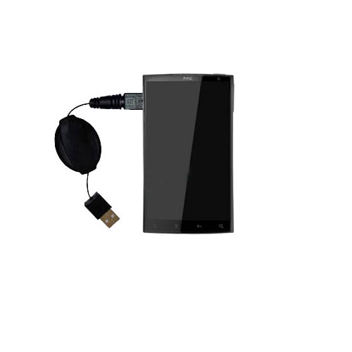 Retractable USB Power Port Ready charger cable designed for the HTC Zeta and uses TipExchange