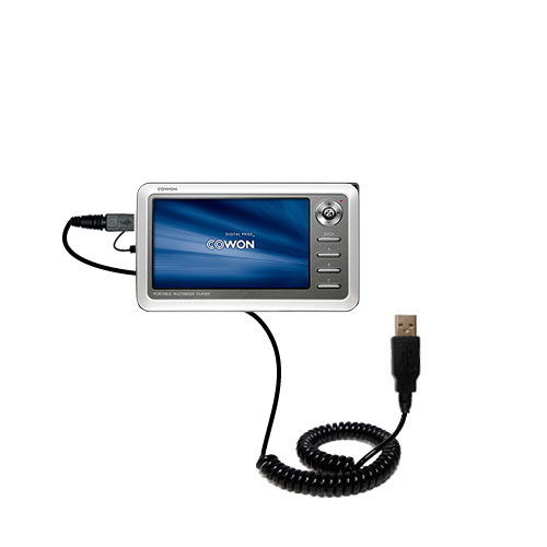 Coiled USB Cable compatible with the Cowon iAudio A2 Portable Media Player