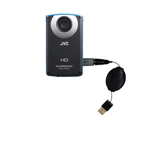 Retractable USB Power Port Ready charger cable designed for the JVC GC-WP10 Waterproof Camera and uses TipExchange