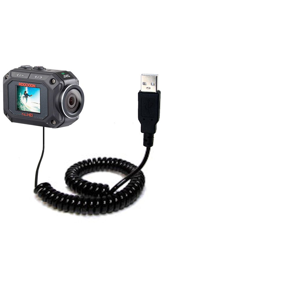 Coiled USB Cable compatible with the JVC GC-XA2 Action Camera