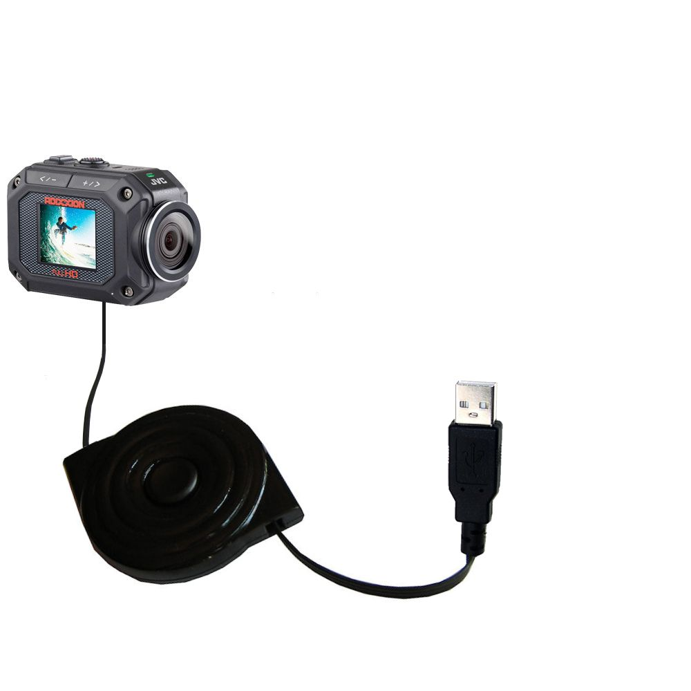 Retractable USB Power Port Ready charger cable designed for the JVC GC-XA2 Action Camera and uses TipExchange