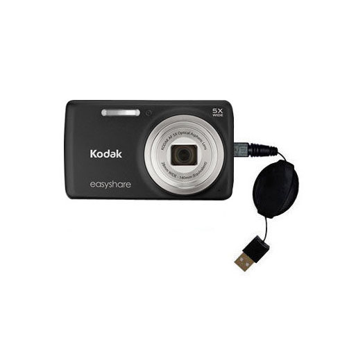 Retractable USB Power Port Ready charger cable designed for the Kodak EasyShare M552 and uses TipExchange