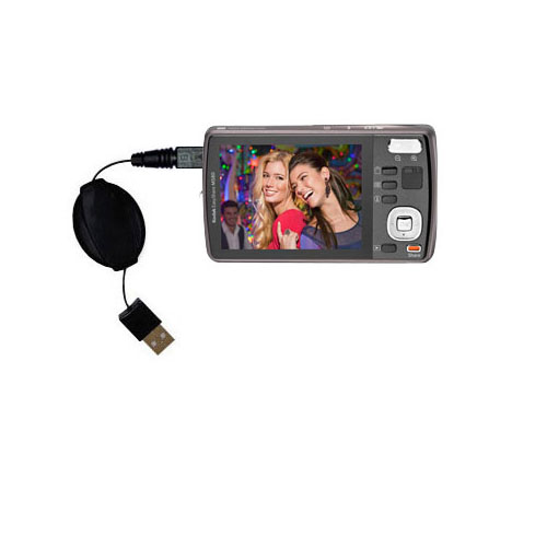 Retractable USB Power Port Ready charger cable designed for the Kodak EasyShare M575 and uses TipExchange