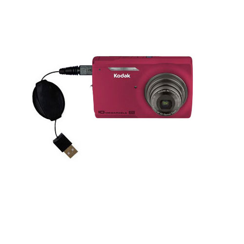 Retractable USB Power Port Ready charger cable designed for the Kodak M1093 IS and uses TipExchange