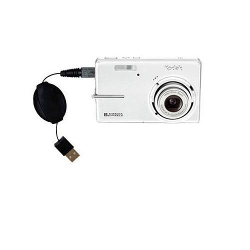 Retractable USB Power Port Ready charger cable designed for the Kodak M893 IS and uses TipExchange