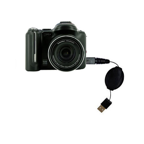 Retractable USB Power Port Ready charger cable designed for the Kodak P712 and uses TipExchange