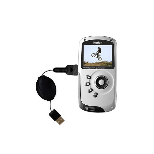 Retractable USB Power Port Ready charger cable designed for the Kodak PlaySport Pocket Video Camera and uses TipExchange