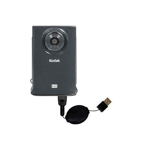 Retractable USB Power Port Ready charger cable designed for the Kodak Zm2 Mini Video Camera and uses TipExchange