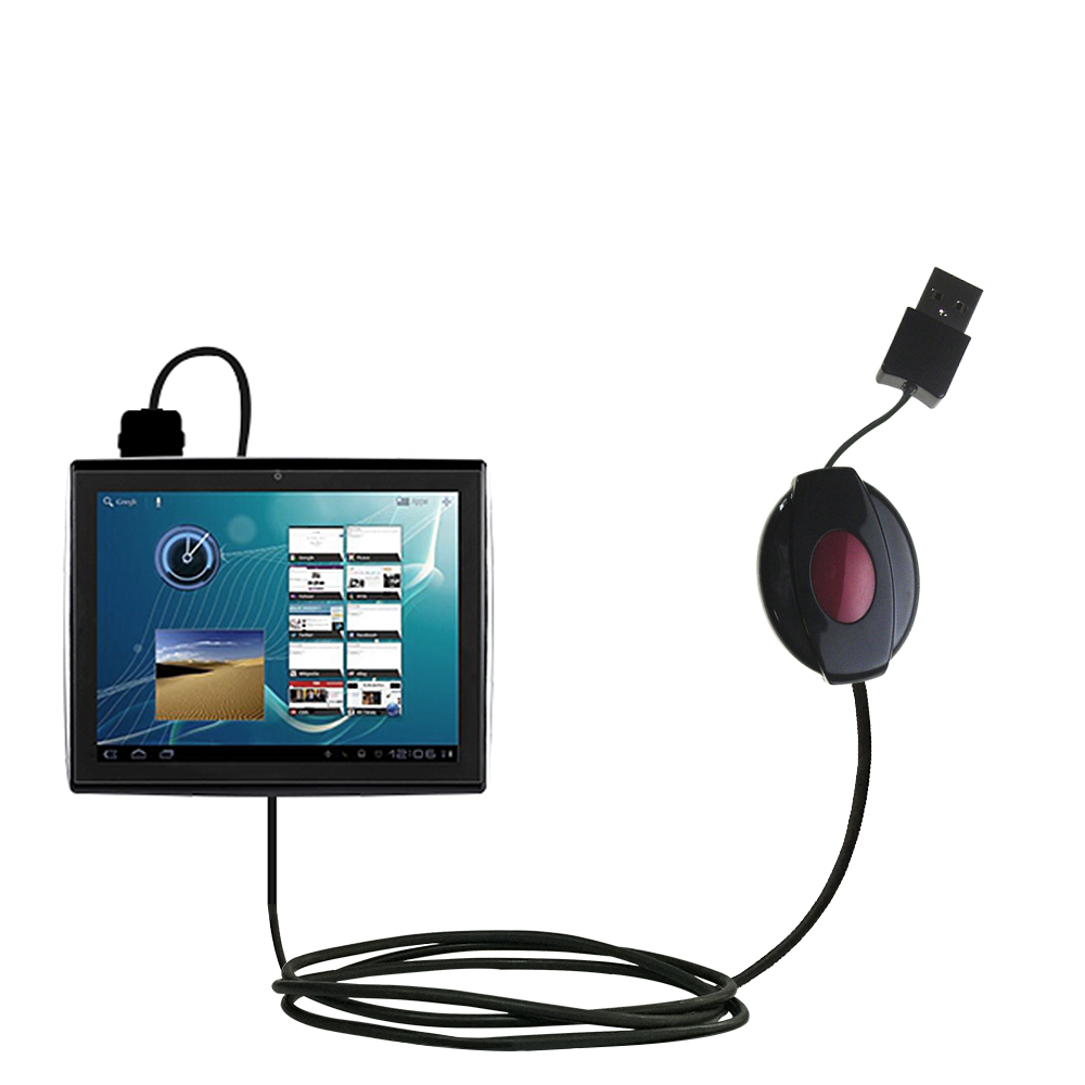 Retractable USB Power Port Ready charger cable designed for the Le Pan TC979 / Le Pan II  and uses TipExchange