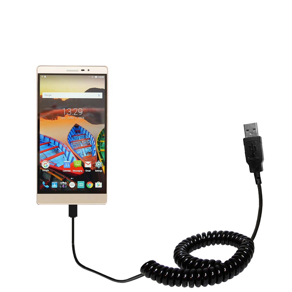 Coiled USB Cable compatible with the Lenovo PHAB 2 Pro