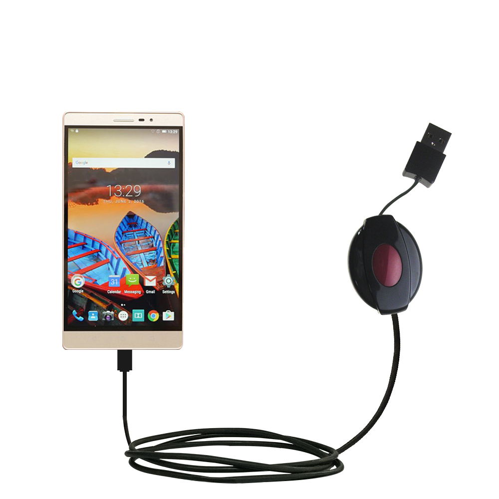Retractable USB Power Port Ready charger cable designed for the Lenovo PHAB 2 Pro and uses TipExchange