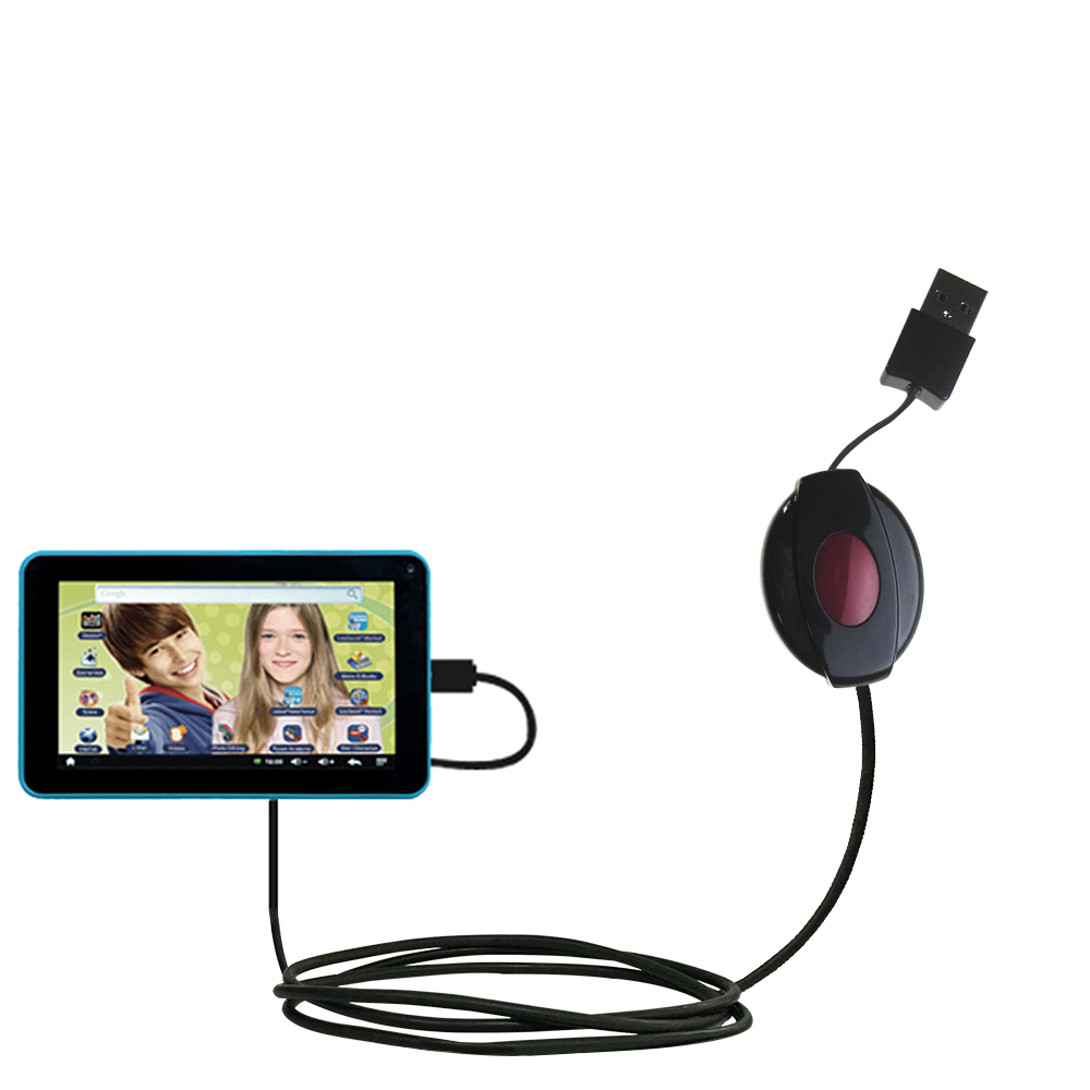 Retractable USB Power Port Ready charger cable designed for the Lexibook Tablet Advance MFC180EN and uses TipExchange
