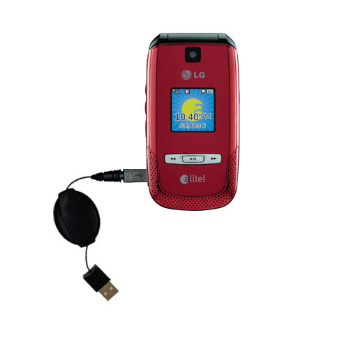 Retractable USB Power Port Ready charger cable designed for the LG AX500 and uses TipExchange