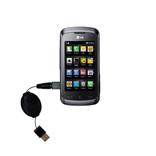 Retractable USB Power Port Ready charger cable designed for the LG Clubby and uses TipExchange