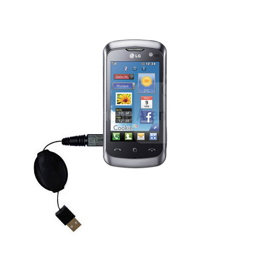 Retractable USB Power Port Ready charger cable designed for the LG Cookie Live and uses TipExchange