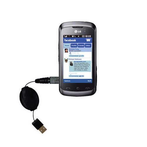 Retractable USB Power Port Ready charger cable designed for the LG Cookie Music and uses TipExchange