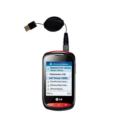 Retractable USB Power Port Ready charger cable designed for the LG Cookie Style and uses TipExchange