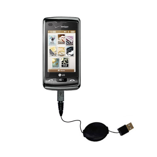 Retractable USB Power Port Ready charger cable designed for the LG enV Touch and uses TipExchange