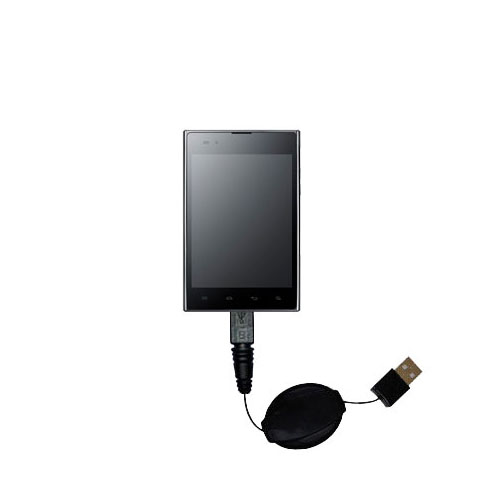 Retractable USB Power Port Ready charger cable designed for the LG F100L and uses TipExchange