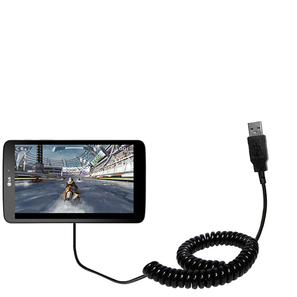 Coiled USB Cable compatible with the LG G Pad