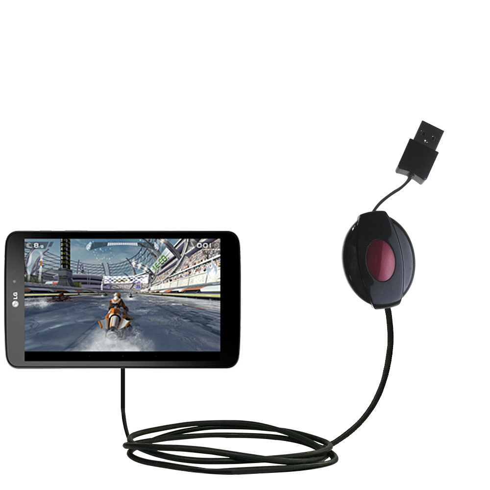 Retractable USB Power Port Ready charger cable designed for the LG G Pad and uses TipExchange