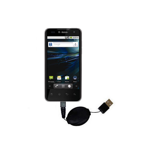 Retractable USB Power Port Ready charger cable designed for the LG G2x and uses TipExchange