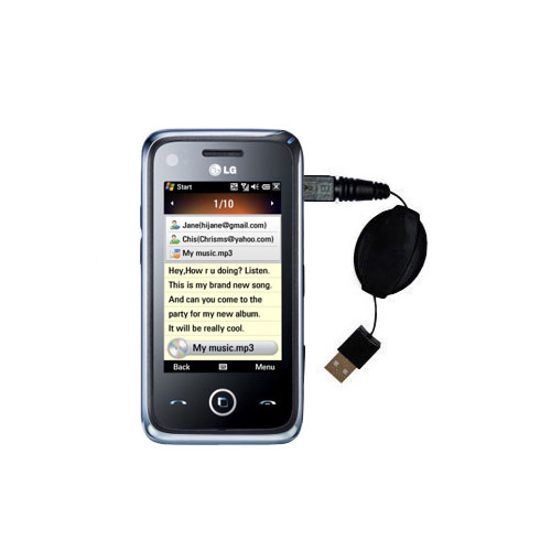 Retractable USB Power Port Ready charger cable designed for the LG GM730 and uses TipExchange