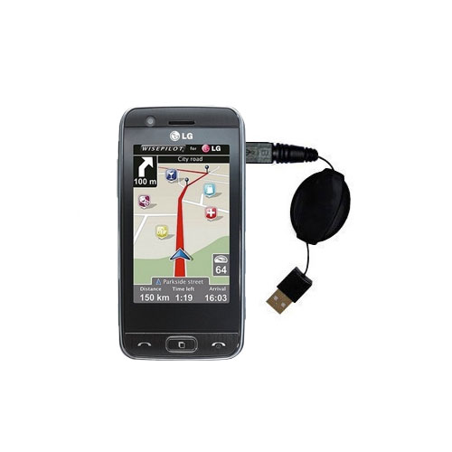 Retractable USB Power Port Ready charger cable designed for the LG GT505 and uses TipExchange