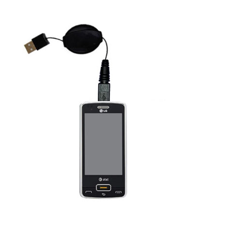 Retractable USB Power Port Ready charger cable designed for the LG GW820 eXpo and uses TipExchange