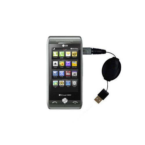 Retractable USB Power Port Ready charger cable designed for the LG GX500 and uses TipExchange