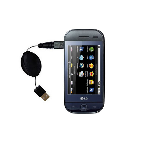 Retractable USB Power Port Ready charger cable designed for the LG InTouch Max and uses TipExchange