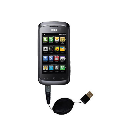 Retractable USB Power Port Ready charger cable designed for the LG KM555E and uses TipExchange