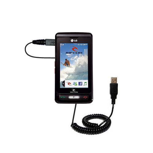 Coiled USB Cable compatible with the LG KP550 Rip Curl
