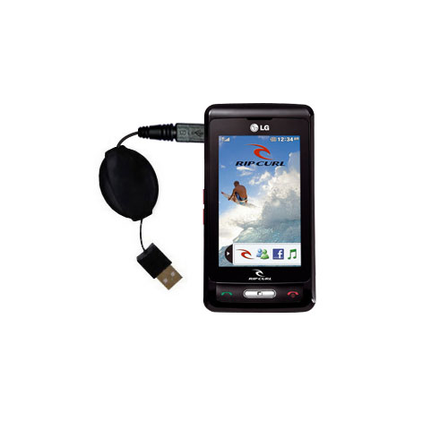 Retractable USB Power Port Ready charger cable designed for the LG KP550 Rip Curl and uses TipExchange