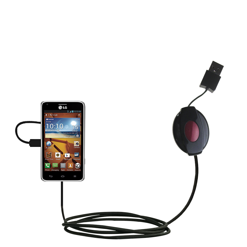 Retractable USB Power Port Ready charger cable designed for the LG Mach and uses TipExchange
