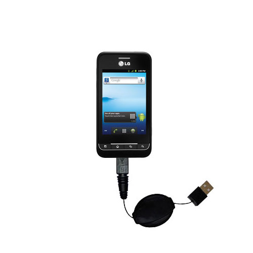 Retractable USB Power Port Ready charger cable designed for the LG Optimus 2 and uses TipExchange