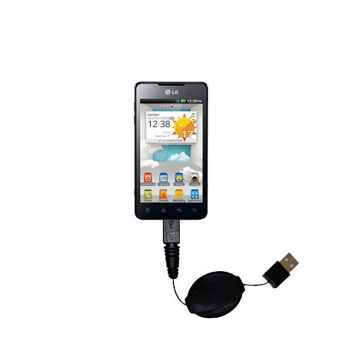 Retractable USB Power Port Ready charger cable designed for the LG Optimus 3D Cube and uses TipExchange