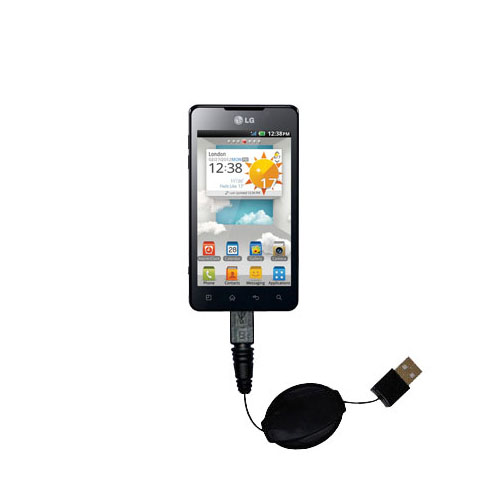 Retractable USB Power Port Ready charger cable designed for the LG Optimus 3D Max and uses TipExchange