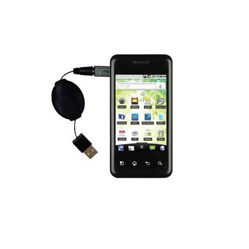 Retractable USB Power Port Ready charger cable designed for the LG Optimus Chic and uses TipExchange
