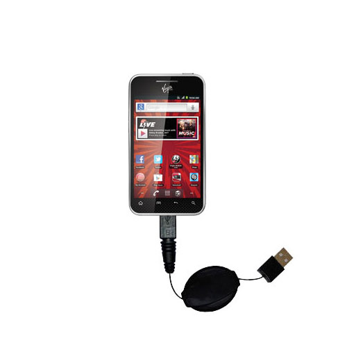 Retractable USB Power Port Ready charger cable designed for the LG Optimus Elite and uses TipExchange