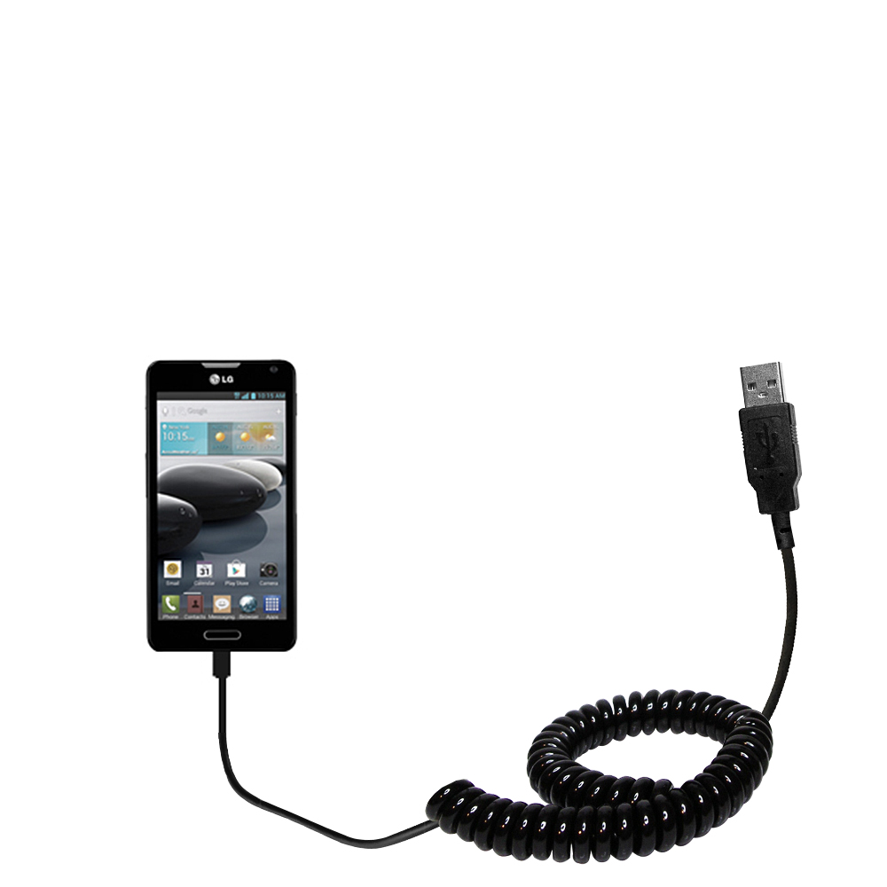 Coiled USB Cable compatible with the LG Optimus F6
