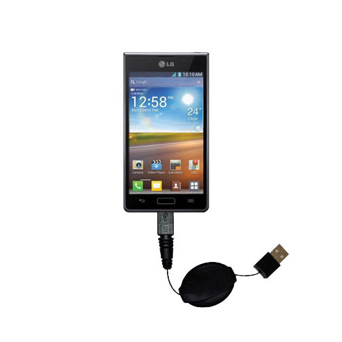 Retractable USB Power Port Ready charger cable designed for the LG Optimus L5 and uses TipExchange