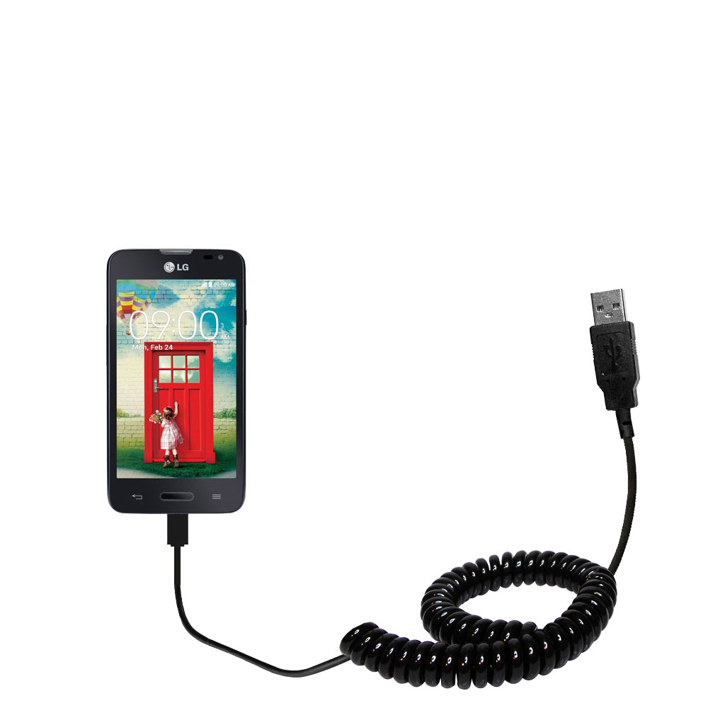 Coiled USB Cable compatible with the LG Optimus L70