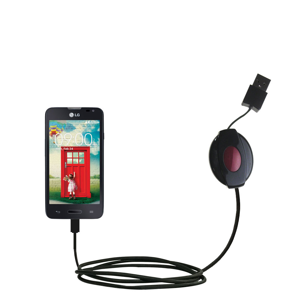 Retractable USB Power Port Ready charger cable designed for the LG Optimus L70 and uses TipExchange