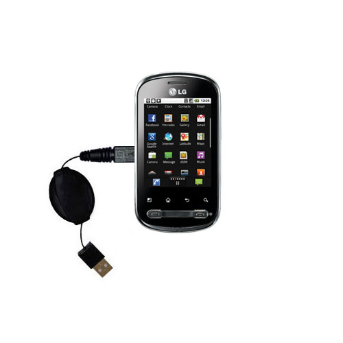 Retractable USB Power Port Ready charger cable designed for the LG Optimus Me P350 and uses TipExchange