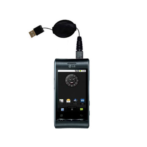 Retractable USB Power Port Ready charger cable designed for the LG Optimus S and uses TipExchange